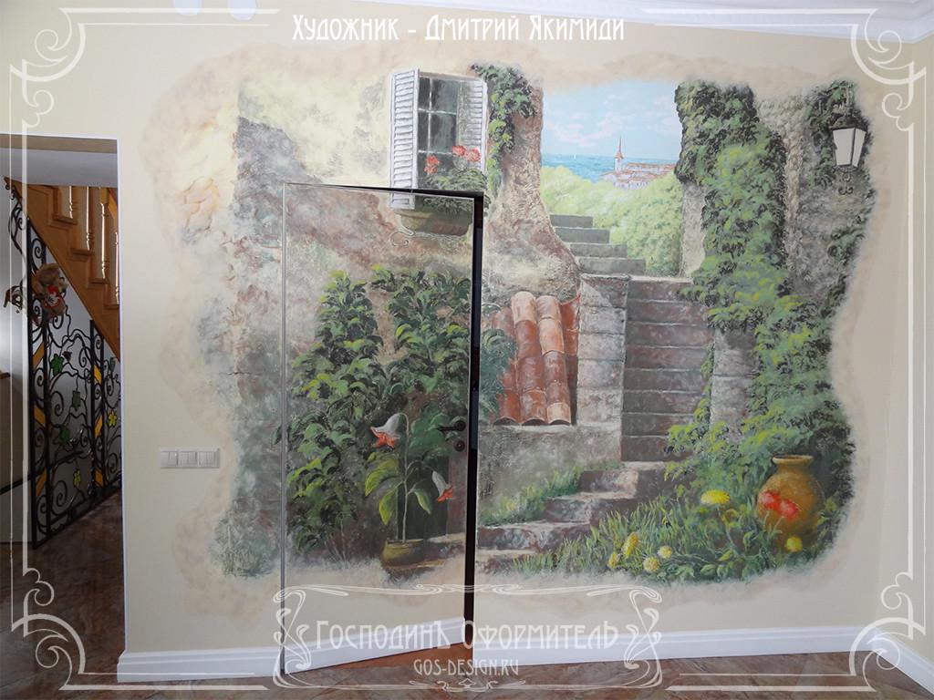 фактурная роспись в гостиной