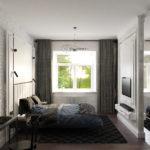 Дизайн проект спальни лофт