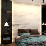 спальня чёрное стекло